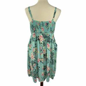 Torrid Teal Green Floral Dress Pockets Size 1